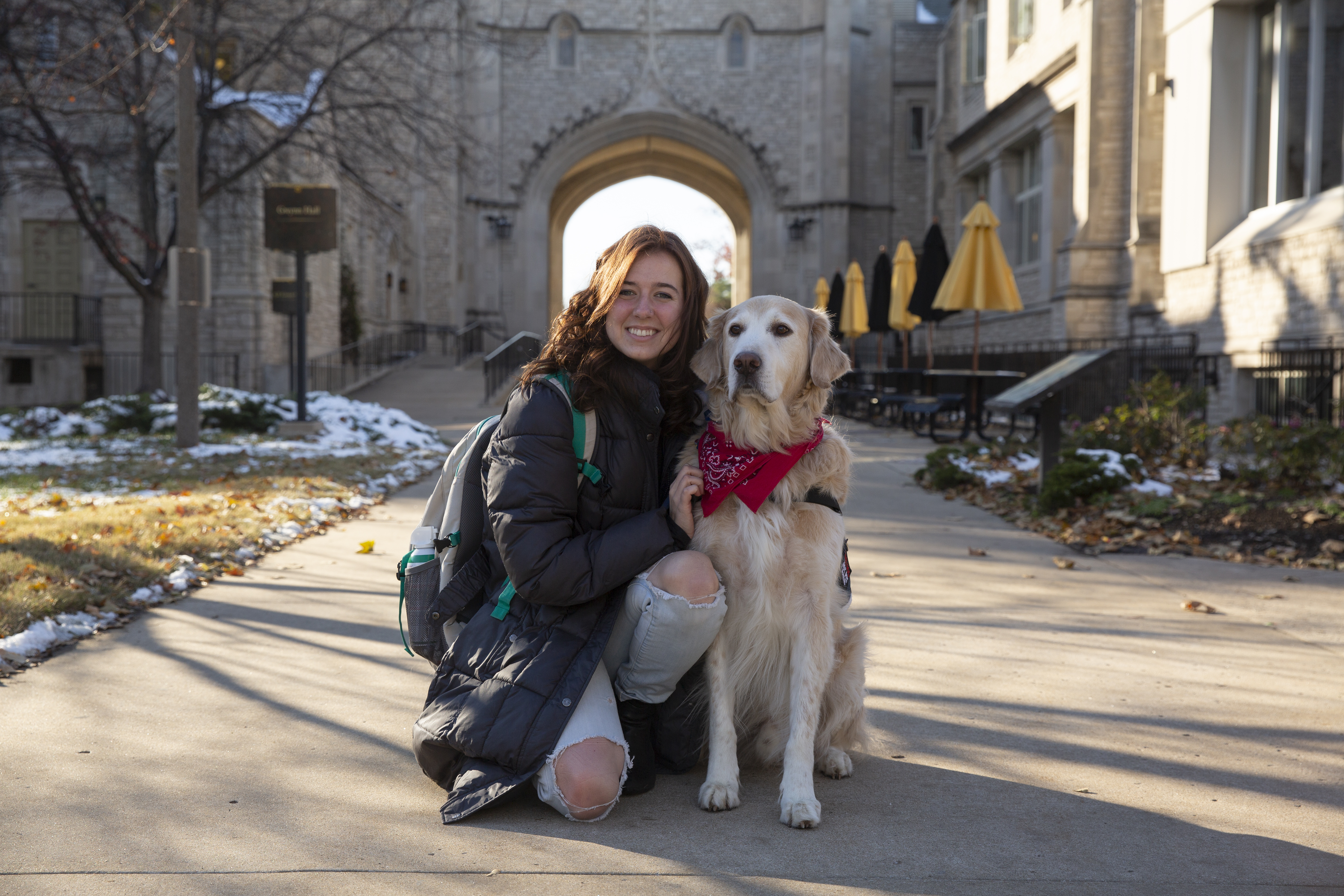 Sophie Endacott and her service dog Hudson on the University of Missouri campus. Photo by Sam O'Keefe/University of Missouri
